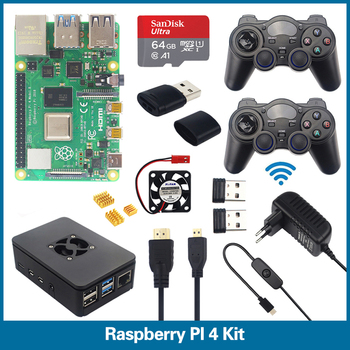 цена на S ROBOT Raspberry Pi 4 Model B Game Kit+ Gamepads controller + 64G SD Card + ABS Case + Switch Power Supply +Cable RPI3