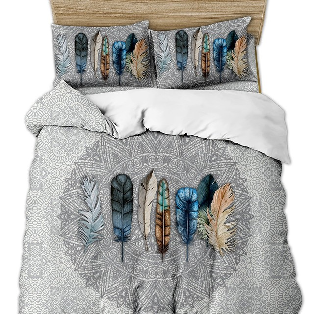 Boho Mandala Feather Duvet Cover Set
