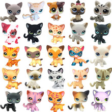 LPS chat animalerie jouets rares Stands peu cheveux courts chaton rose #2291 gris #5 noir #994 ancien Original Kitty Figure Collection(China)