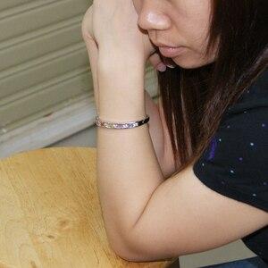 Image 4 - 本物の女性のオリジナル925スターリングシルバーブレスレットカラーキュービックジルコンブレスレット輝きファインジュエリーガールフレンドのソリッドシルバーバングル