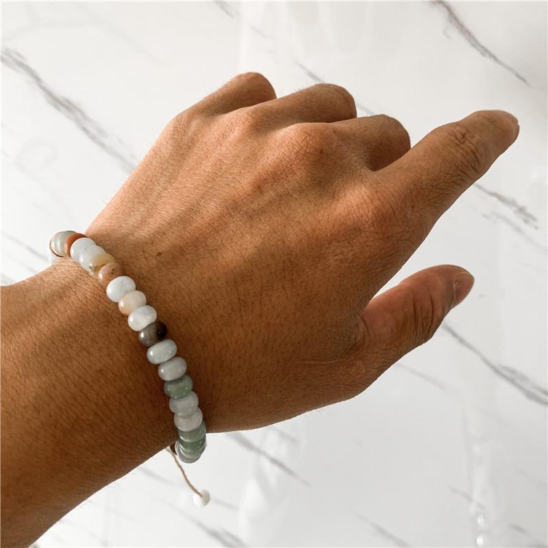 Marmor Stein Armband Lion Head Herren Rund Perle Elastische Mode Geschenk