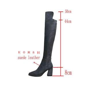 Image 2 - 上でセクシーなブーツの女性のスエード革の厚さのハイヒールの女性のブーツ秋冬黒グレーパーティー靴女性