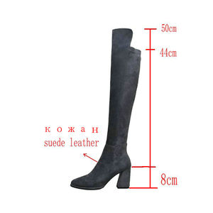 Image 2 - Sexy over the knee high boots woman suede leather thick high heels women boots autumn winter black gray party shoes woman