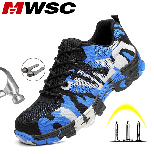 MWSC Men Work Safety Shoes Working Shoes for Men Safety Boots Camouflage Indestructible Shoes Unisex Steel Toe Boots Sneakers