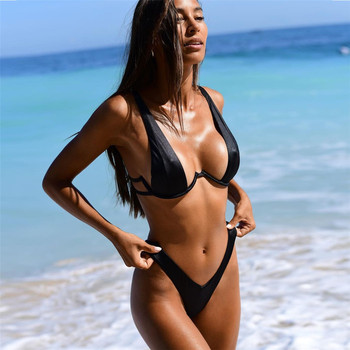 Aiqi 2021 New Sexy Swimsuit Double-Layer Nylon Fabric With Steel Support Gathered Bikini Multicolor Beachwear 1