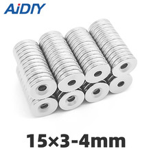 20/50/100 pcs 15x3mm Hole 4mm Super strong round countersunk magnets N35 permanent neodymium magnet цена 2017