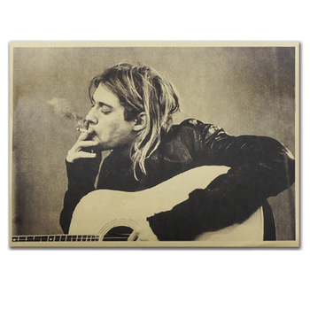 Guitarist Mens retro Posters and Prints Kraft paper Living Bedroom Bar restaurant Coffee Room Poster Wall Stickers Decoration image