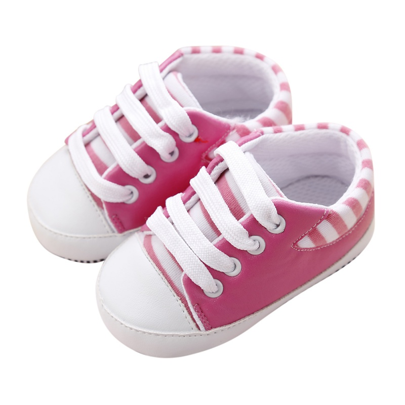 First Walkers Baby Shoes Newborn Girl Boy Soft Sole Crib Toddler Shoes Striped Sneaker Sports Cotton PU Shoes Autumn