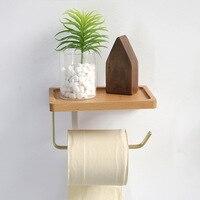 Tissue Rack Holz Messing Papier Handtuch Rack Wc Rollen Papier Halter Telefon Regal Küche Oraganizer Bad Zubehör
