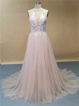 Pink A-Line Beading tulle Wedding Dresses O-Neck Bridal Gown Custom Made For Women фото