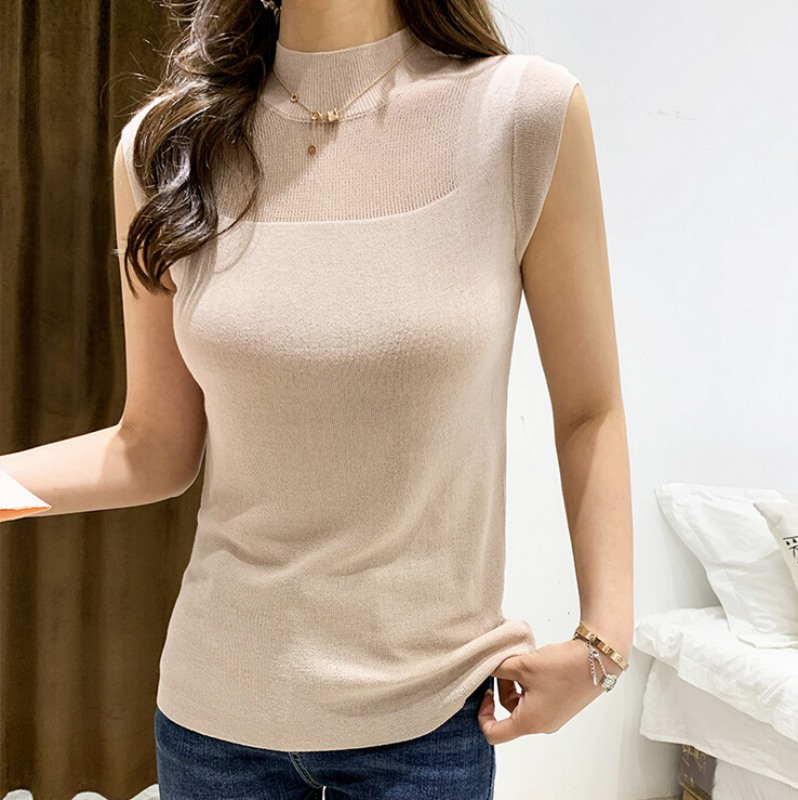 Skirt Clothing Bright-Color Retro Sleeveless Neck-Top Knit Sexy Casual Women's Summer