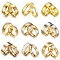 LETAPI Neue Mode Gold Farbe Edelstahl Hochzeit Engagement Ring für Frauen Männer Zirkon Ring Schmuck Valentinstag Geschenke