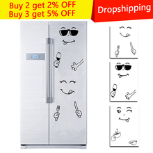 Creative Smile Face Wall Sticker Happy Delicious Face Fridge Stickers Yummy for Food Furniture Decoration Art Poster DIY PVC