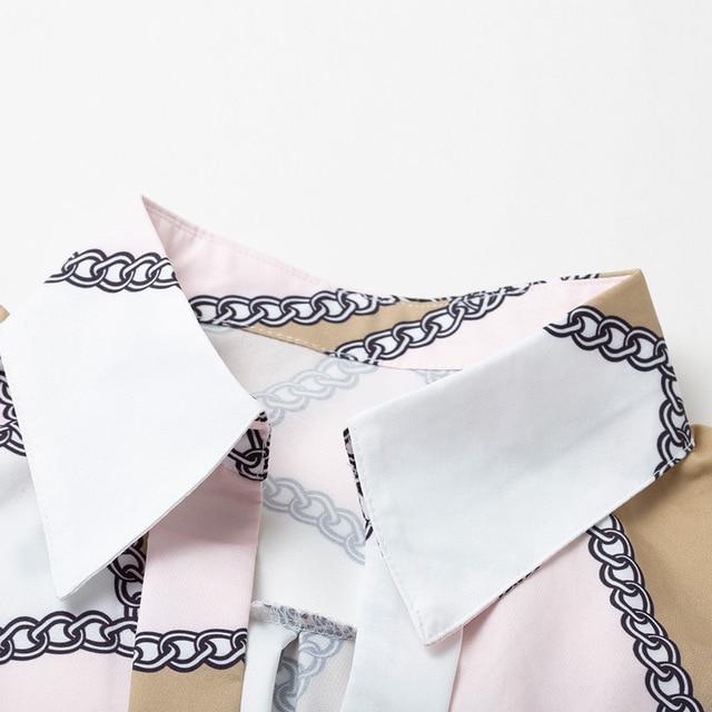 UGOCCAM Women Blouse Long Sleeve Blouse Shirt Print Office Turn-down Collar Blouse Elegant Work Plus Size Tops Fashion Women Top