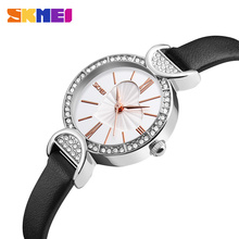 SKMEI Fashion Women Watches Ladies Leather Strap Quartz Watch Luxury Casual Waterproof Wristwatches Relogio Feminino 9146