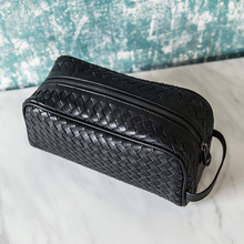100% Leather Men Clutch Weaving Large Capacity Zipper Bag Fashion Simple Storage