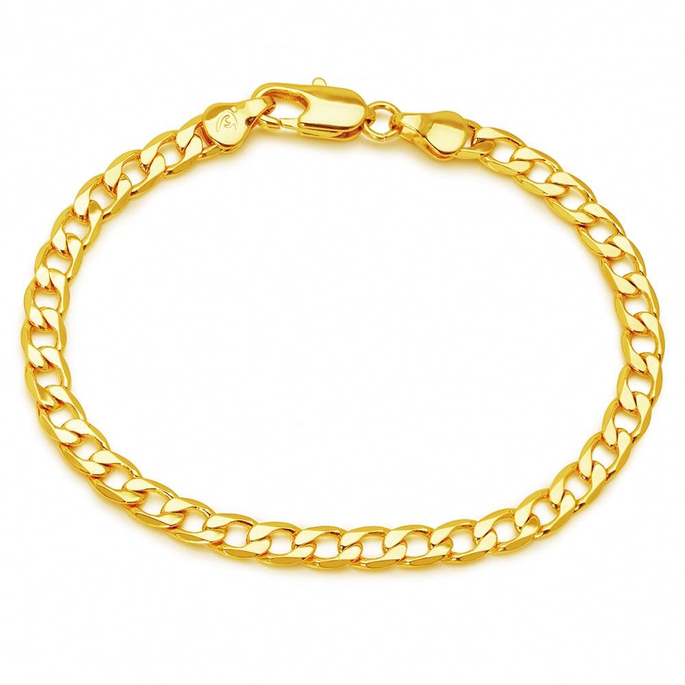 XP ювелирные изделия -- (19 см x 5 мм) 1:1 24К желтый золотой цвет Фигаро браслеты для мужчин и женщин модные ювелирные изделия