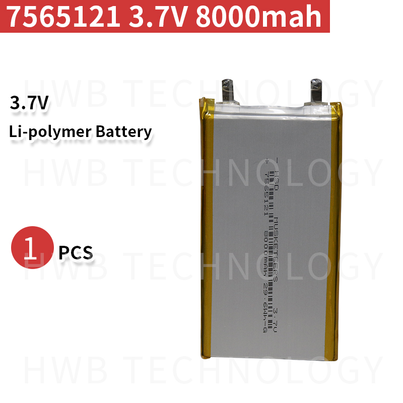 <font><b>8000mAh</b></font> 7565121 3.7V lithium polymer lipo <font><b>battery</b></font> rechargeable li ion cell for E-Book GPS PSP DVD Power bank <font><b>Tablet</b></font> PC image