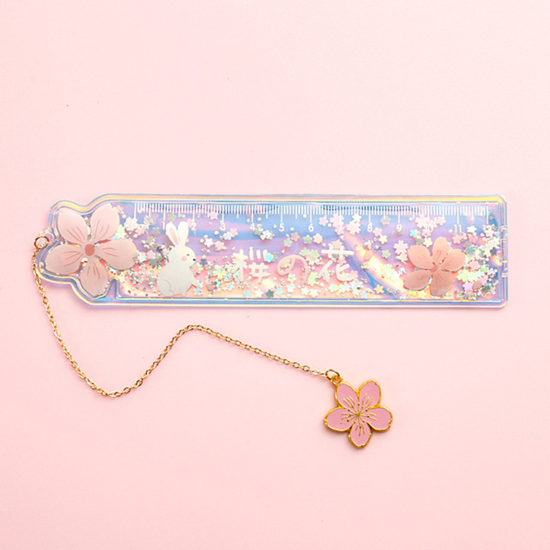 1 pc Creative Cute Ruler Sequin Quicksand 20cm Kawaii Student Rulers Stationery School Office Learning Accessories Gift for Kids 6
