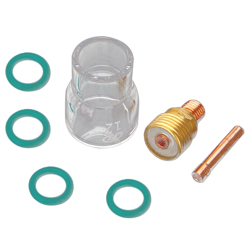 7 teile/satz #12 Pyrex Glas Tasse Kit Stubby Spannzangen Körper Gas Objektiv Wig-schweißbrenner Für Wp-9/20 /25 schweißen Zubehör