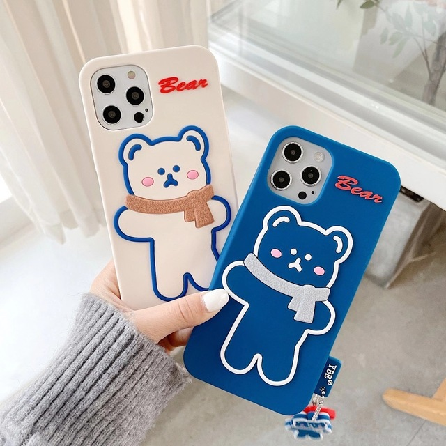 Silicone Soft Brunch Bear With Scarf Phone Case For iphone6/6S 78 Plus X/XS MAX 11/12Pro/SE Buy One Get Correspondent Ring Free 1