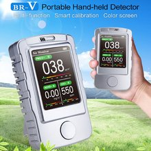 Portable Handheld Air Detector USB Charging of PM1.0 PM2.5 PM10 Formaldehyde CO2 Gas Detector Air Quality Monitor Gas Analyzer 0 5 mg formaldehyde detector compact portable formaldehyde tester monitor gas analyzers temperature humidity meter