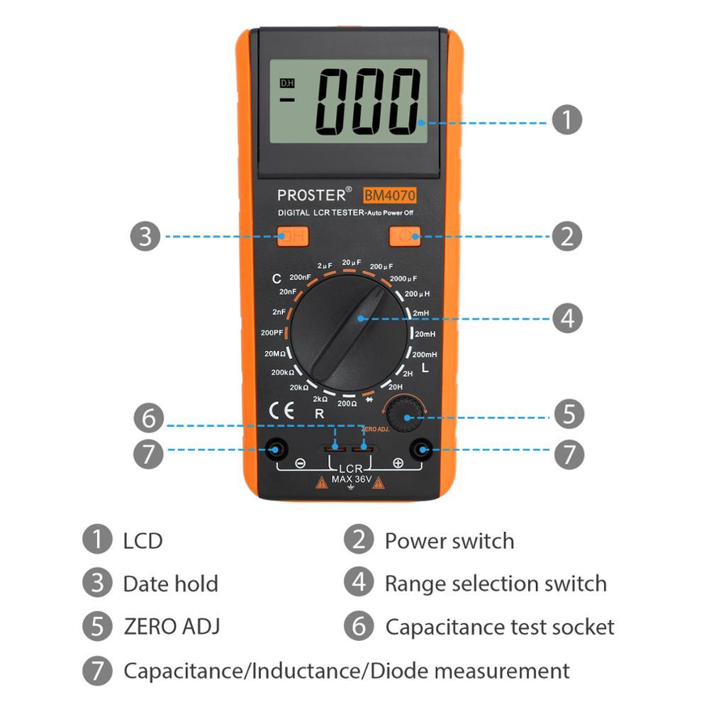 LCR Multimeter Meter Tester Proster Capacitance Resistance With Meter Measuring Self Inductance Display Overrange Discharge