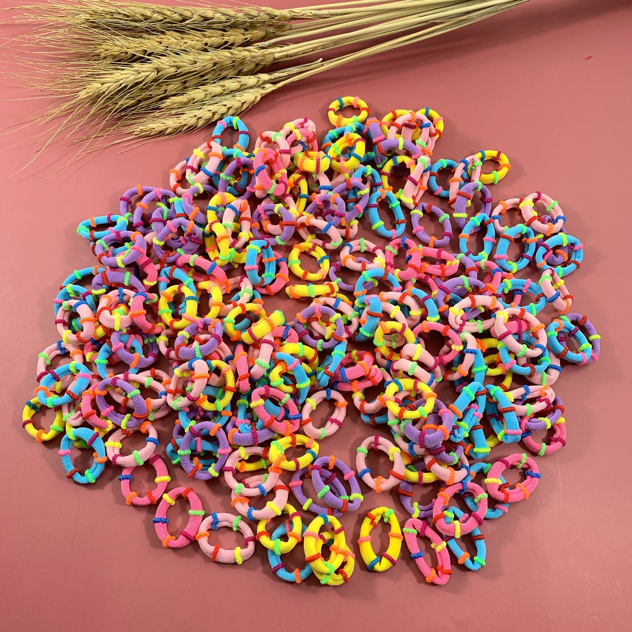 20PCS 2cm Lovely  Baby Children Fashion Hair Band Rainbow Mini Rubber Band Headband Girls Elastic Hair Bands Hair Accessories