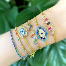 Baguette Evil Eye Bracelet Women Gold Color Chain Rainbow Cubic Zirconia Micro Paved Luxury Jewelry Tennis Bracelets Wave MZ044(China)