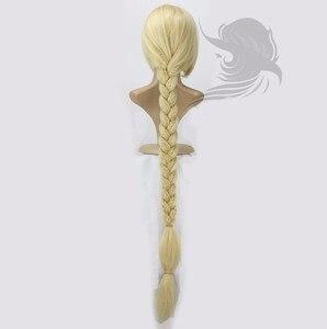 "Image 5 - Peluca de Cosplay de princesa enredada de Anime, Peluca de pelo sintético de Rapunzel superlarga de 120cm y 47"""
