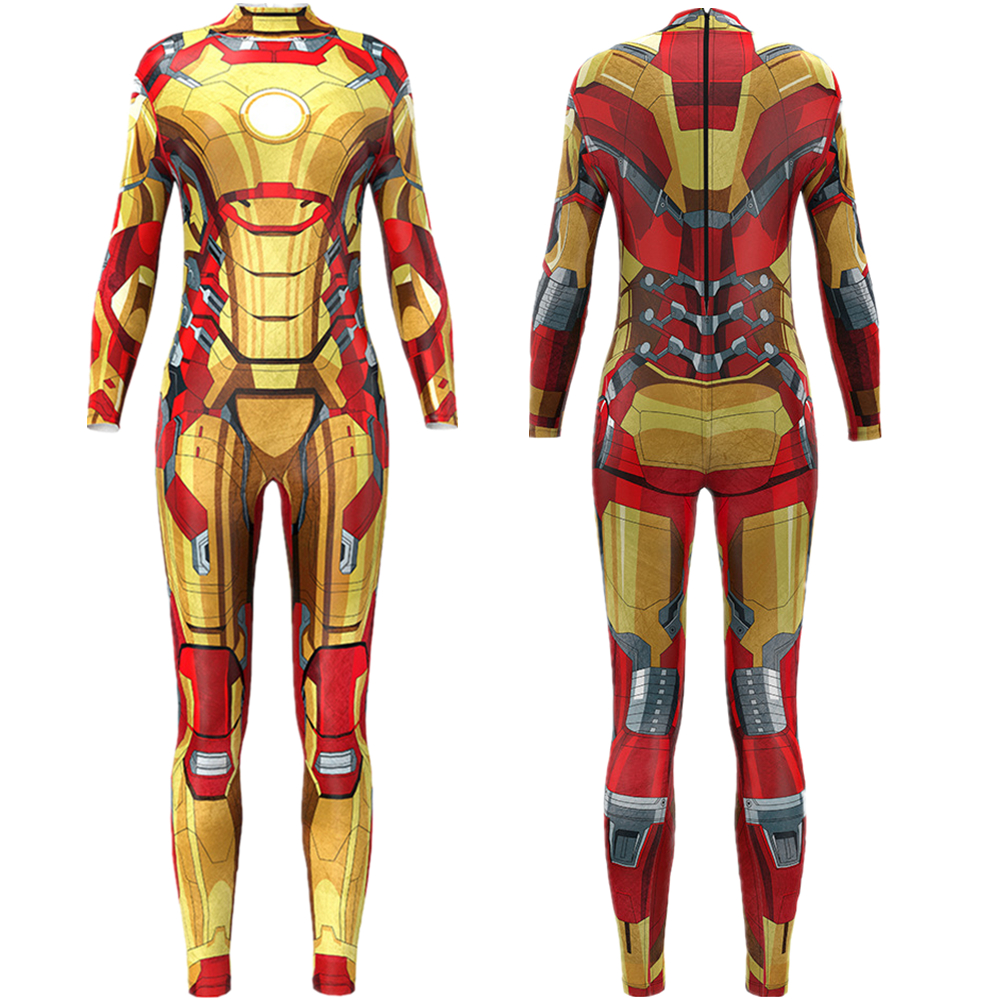 Superhero Movie Iron Man Jumpsuit Catsuit <font><b>Sexy</b></font> Cosplay <font><b>Costumes</b></font> <font><b>Halloween</b></font> Women Bodysuit Fancy Dress image