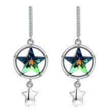 High-end crystal S925 Sterling Silver Stud Earrings Green Star Round Ring Jewelry Fashion OL Essential Boutique