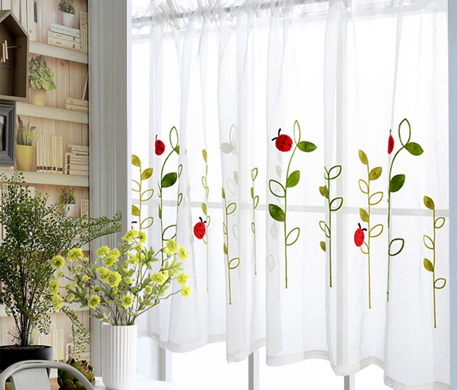 Bay Window Kids Study Flax Half Curtain Fabrics Embroidered Red Ladybug Curtains For Door Window Partition Kitchen Drape Wp121 5 Curtains Aliexpress