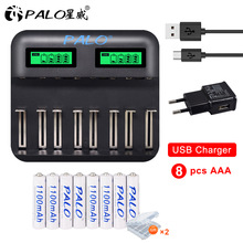 PALO 1.2V AAA 3A rechargeable battery ni-mh 1100mAh and usb smart charger for 1.2V aa aaa C D size batteries palo led smart battery charger for 9 volt aa aaa ni mh rechargeable batteries 18650 2pcs 9v ni mh 300mah rechargeable batteries