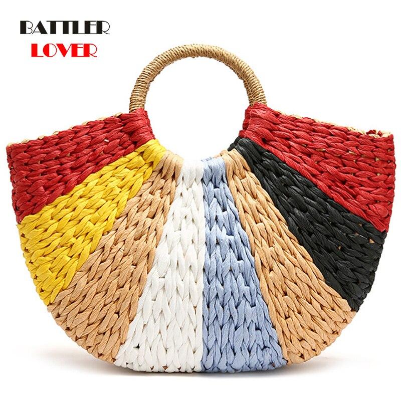 Women Handbag Summer Beach Bag Rattan Woven Handmade Knitted Straw Large Capacity Totes Leather Women