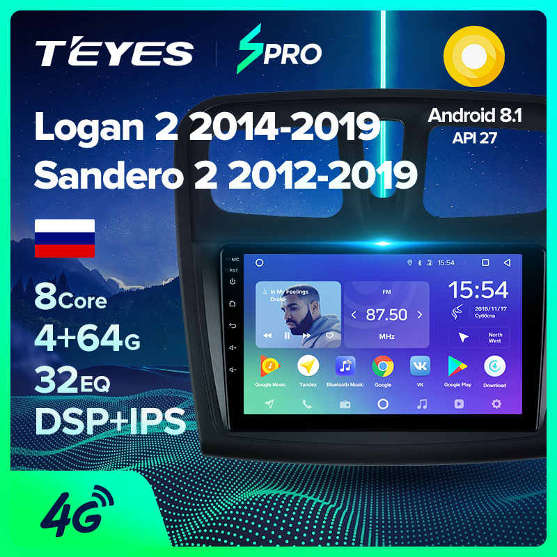 Teyes Spro Voor Renault Logan 2 Sandero 2014 2019 Symbool Auto Radio Multimedia Video Player Navigatie Gps Android 8.1 Geen 2din