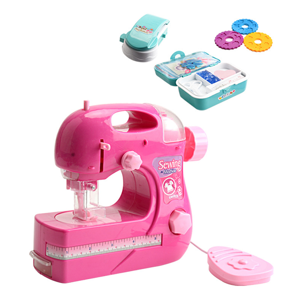 Mini Electric Simulation Sewing Machine Pretend Play Toy for Kids Boys Girls