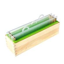 Renderização de Silicone Conjunto Molde Sabão Retângulo Pão Molde com Caixa de Madeira e Vertical Transparente Acrílico Ripa DIY Handmade
