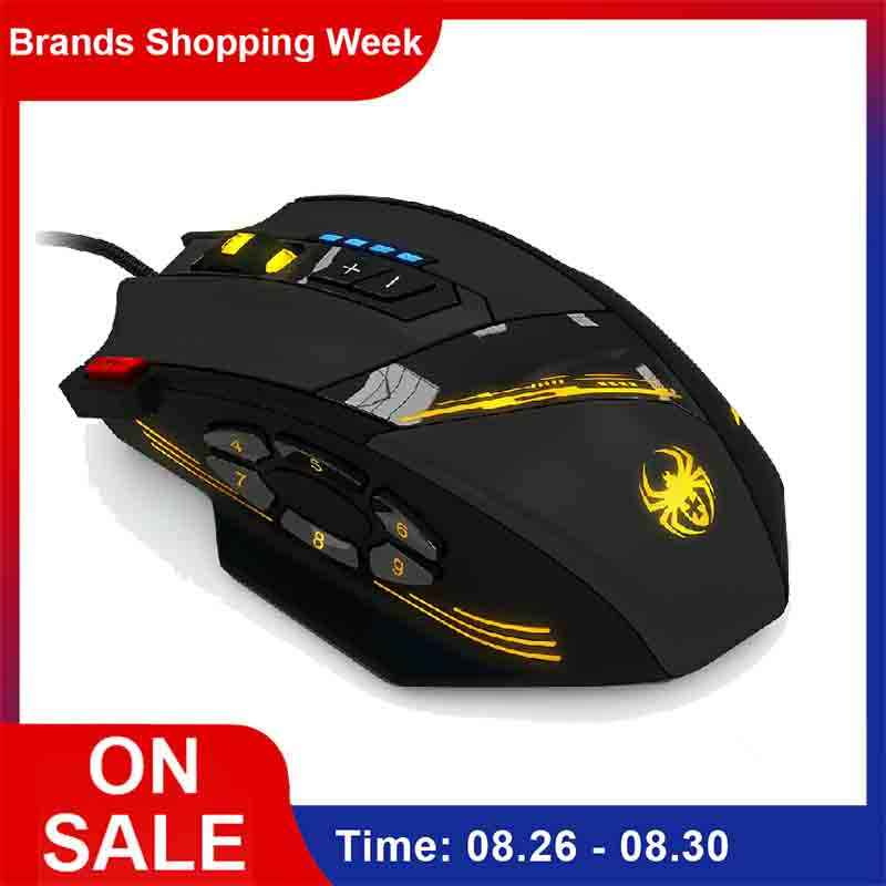 Zelotes C-12 Kabel Mouse Gaming Mouse Optik USB 12 Tombol Yang Dapat Diprogram Komputer Mouse Game 4 Adjustable DPI 7 Lampu LED