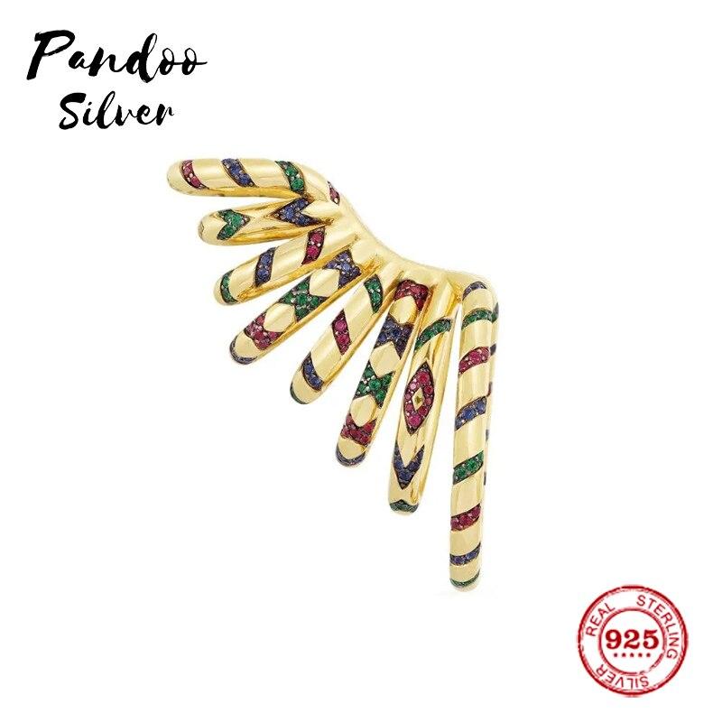 Mode breloque en argent Sterling copie 1:1 copie, jaune déclaration multicolore Tribal coulissant Mono oreille manchette femmes luxe bijoux cadeau