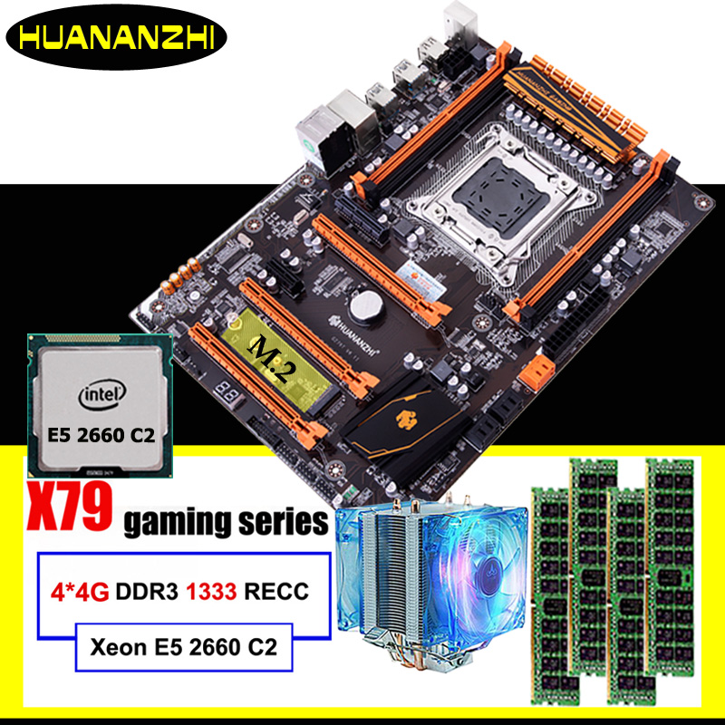 Gaming computer assembly HUANANZHI discount deluxe X79 motherboard with M.2 slot CPU Intel Xeon E5 2660 C2 cooler RAM 16G(4*4G) 1