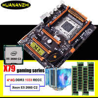 Gaming computer assembly HUANANZHI discount deluxe X79 motherboard with M.2 slot CPU Intel Xeon E5 2660 C2 cooler RAM 16G(4*4G)