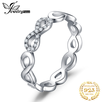 JPalace Infinity Wedding Rings 925 Sterling Silver Rings for Women Stackable Anniversary Ring Eternity Band Silver 925 Jewelry manbu custom infinity knot ring with moonstone 925 sterling silver ring for women fashion jewelry anniversary gift free shipping