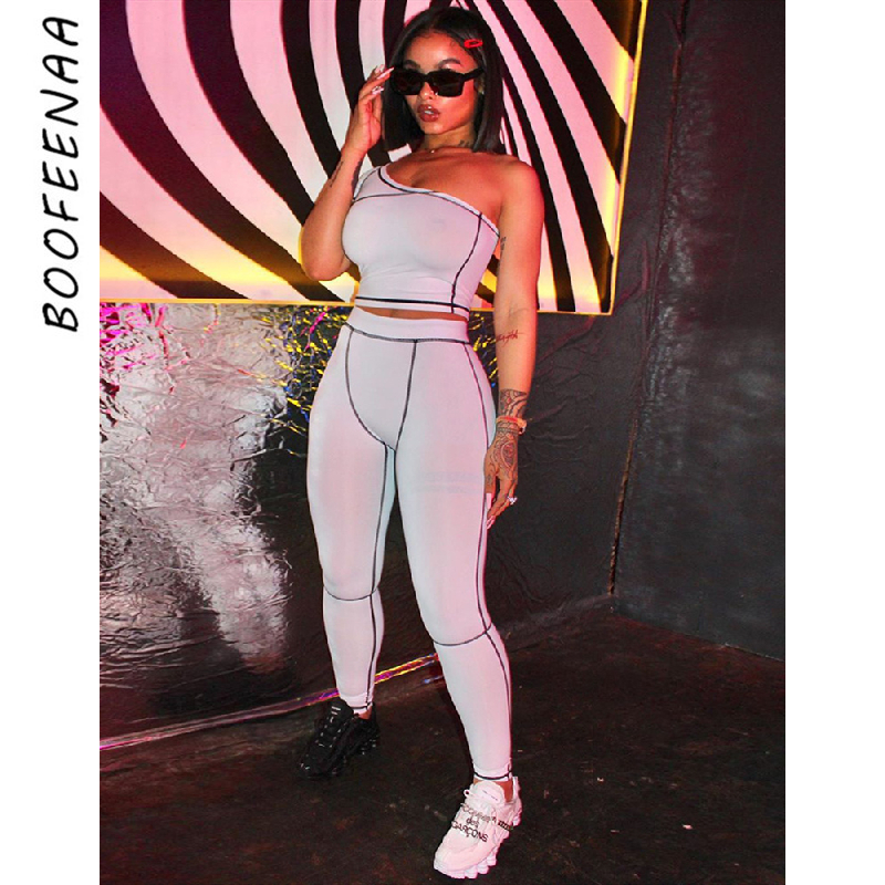 BOOFEENAA Sexy Two Piece Set Summer Clothes For Women 2020 Sports Tracksuit 2 Piece Women Matching Sets Club Outfits C16-AD26