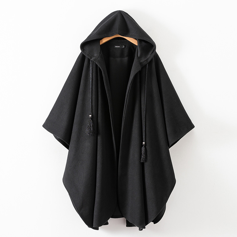 Women Winter Black Long Coat Ladies Cotton Fashion Cardigan Jackets Women s Hooded Cloak Capes Ponchos 2019 New 7479