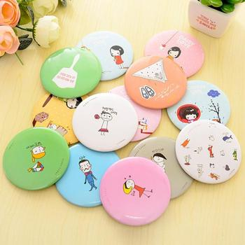 Portable Size Lovely Cartoon Design Makeup Mirror Compact Round Shape Shatter-Proof Makeup Mini Beauty Mirror image