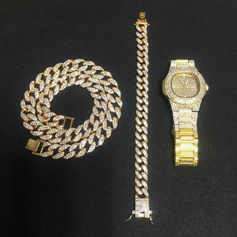 Naszyjnik + zegarek + bransoletka Hip Hop Miami Curb kubański łańcuch złoto srebro Iced Out betonowa cyrkonie CZ Bling raper dla mężczyzn biżuteria