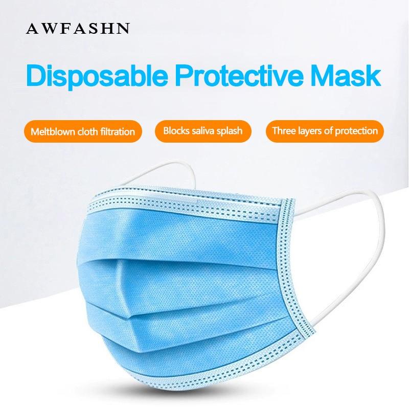 10pcs / 50pcs / 100pcs High Quality Disposable Antivirus Coronavirus Sports Mask  Non-woven Filter Germ Contamination Guise Mask