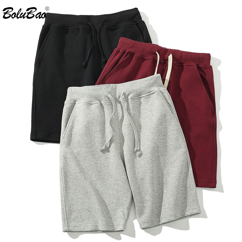 BOLUBAO Fashion Brand Men Casual Shorts Summer Men's Sports Comfortable Shorts Solid Color Drawstring Beach Shorts Male