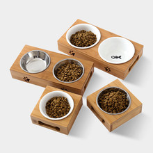 Tigela de cerâmica para animal de estimação, tigela de bambu para cão e gato, resistente à derrapagem, cão e gatinho, tigela de comida pequena
